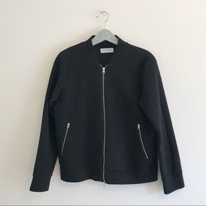Everlane | Black Street Fleece Bomber Jacket